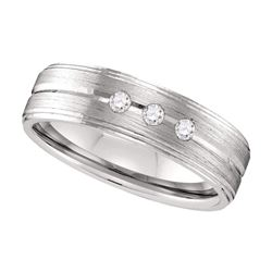 0.12 CTW Mens Diamond Brushed Anniversary Ring 10KT White Gold - REF-41X2Y