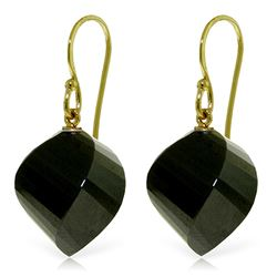 Genuine 31 ctw Black Spinel Earrings Jewelry 14KT Yellow Gold - REF-30T2A