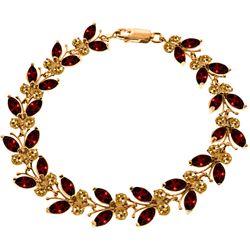Genuine 16.5 ctw Garnet & Citrine Bracelet Jewelry 14KT Rose Gold - REF-179F2Z