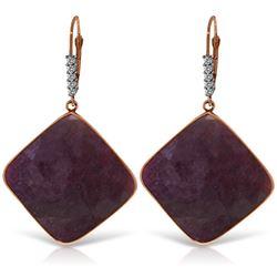Genuine 40.65 ctw Ruby & Diamond Earrings Jewelry 14KT Rose Gold - REF-131A8K