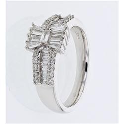 0.79 CTW Diamond Ring 18K White Gold - REF-96X7R