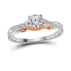 0.46 CTW Diamond Solitaire Bridal Engagement Ring 14KT White Gold - REF-120M2H