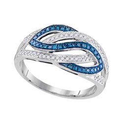 0.25 CTW Blue Color Diamond Woven Crossover Ring 10KT White Gold - REF-28Y4X