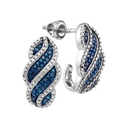 0.10 CTW Blue Color Diamond J Half Hoop Earrings 10KT White Gold - REF-26K9W