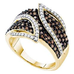 1 CTW Brown Color Diamond Fashion Ring 10KT Yellow Gold - REF-41Y9X