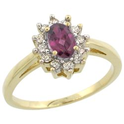 Natural 0.67 ctw Rhodolite & Diamond Engagement Ring 10K Yellow Gold - REF-39Y2X