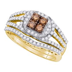 1 CTW Cognac-brown Color Diamond Bridal Ring 10KT Yellow Gold - REF-75X2Y