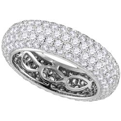 3.35 CTW Pave-set Diamond Comfort Wedding Ring 14KT White Gold - REF-449N8F