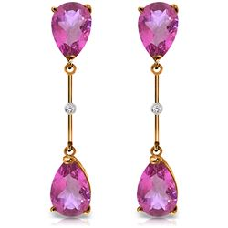Genuine 7.01 ctw Pink Topaz & Diamond Earrings Jewelry 14KT Rose Gold - REF-33F8Z