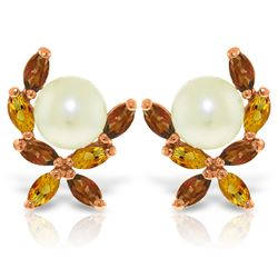 Genuine 3.25 ctw Pearl & Citrine Earrings Jewelry 14KT Rose Gold - REF-30Y2F