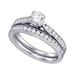 1 CTW Diamond Bridal Wedding Engagement Ring 14KT White Gold - REF-228M2H