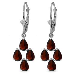 Genuine 4.5 ctw Garnet Earrings Jewelry 14KT White Gold - REF-41Z2N