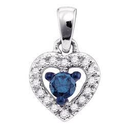 0.20 CTW Blue Color Diamond Heart Love Pendant 10KT White Gold - REF-14F9N
