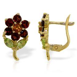 Genuine 2.12 ctw Multi-gemstones Earrings Jewelry 14KT Yellow Gold - REF-36T8A