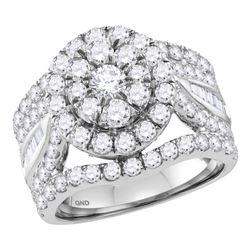 3.46 CTW Diamond Flower Cluster Bridal Engagement Ring 14KT White Gold - REF-299N9F