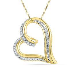 0.16 CTW Diamond Heart Outline Pendant 10KT Yellow Gold - REF-22K4W