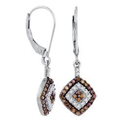 0.50 CTW Cognac-brown Color Diamond Square Dangle Earrings 10KT White Gold - REF-24M2H