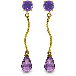 Genuine 4.3 ctw Amethyst Earrings Jewelry 14KT Yellow Gold - REF-23V5W