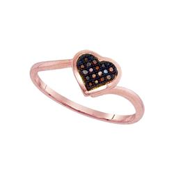 0.05 CTW Red Color Diamond Heart Love Cluster Ring 10KT Rose Gold - REF-11M2H