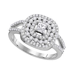 0.75 CTW Princess Diamond Solitaire Bridal Engagement Ring 14KT White Gold - REF-71Y9X