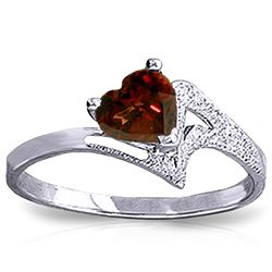 Genuine 0.90 ctw Garnet Ring Jewelry 14KT White Gold - REF-36P3H
