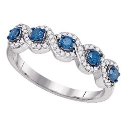 0.50 CTW Blue Color Diamond Woven Ring 10KT White Gold - REF-26M9H