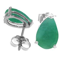 Genuine 2 ctw Emerald Earrings Jewelry 14KT White Gold - REF-34T3A