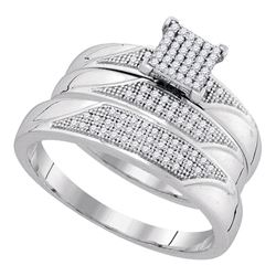 0.25 CTW His & Hers Diamond Cluster Matching Bridal Ring 10KT White Gold - REF-44Y9X