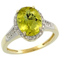 Natural 2.49 ctw Lemon-quartz & Diamond Engagement Ring 10K Yellow Gold - REF-31F4N