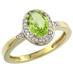 Natural 1.08 ctw Peridot & Diamond Engagement Ring 14K Yellow Gold - REF-31K3R