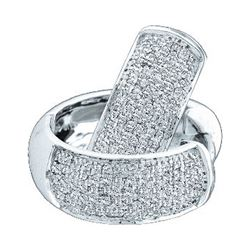 0.50 CTW Pave-set Diamond Huggie Hoop Earrings 14KT White Gold - REF-64K4W