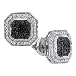 0.50 CTW Black Color Diamond Geometric Octagon Cluster Earrings 10KT White Gold - REF-34W4K