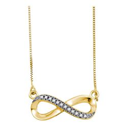 0.06 CTW White Diamond Infinity Love Pendant 10KT Yellow Gold - REF-14H9M