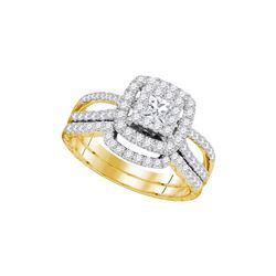 1 CTW Princess Diamond Bridal Engagement Ring 14K Yellow Gold - REF-151F5N