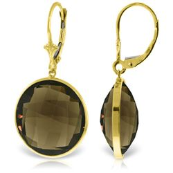 Genuine 34 ctw Smoky Quartz Earrings Jewelry 14KT Yellow Gold - REF-48T3A