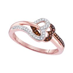0.15 CTW Red Color Diamond Heart Love Ring 10KT Rose Gold - REF-19Y4X
