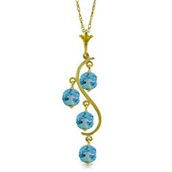 Genuine 2.25 ctw Blue Topaz Necklace Jewelry 14KT Yellow Gold - REF-30Y2F