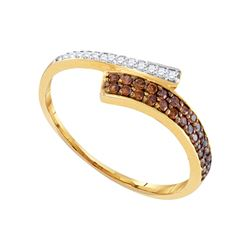 0.24 CTW Cognac-brown Color Diamond Bypass Ring 10KT Yellow Gold - REF-12Y8X