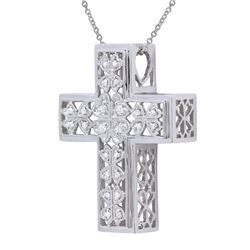 0.13 CTW Diamond Necklace 18K White Gold - REF-66Y8X