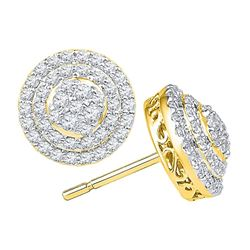 0.82 CTW Diamond Circle Layered Cluster Earrings 10KT Yellow Gold - REF-67N4F