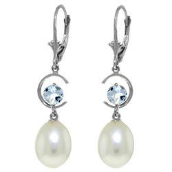 Genuine 9 ctw Pearl & Aquamarine Earrings Jewelry 14KT White Gold - REF-39H2X