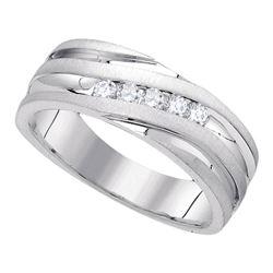 0.25 CTW Mens Diamond Wedding Ring 10KT White Gold - REF-59F9N