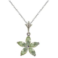 Genuine 1.40 ctw Green Amethyst Necklace Jewelry 14KT White Gold - REF-25N8R