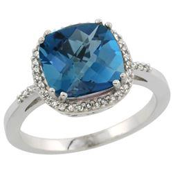 Natural 4.11 ctw London-blue-topaz & Diamond Engagement Ring 10K White Gold - REF-35H5W