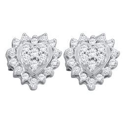 0.25 CTW Diamond Heart Screwback Earrings 10KT White Gold - REF-14W9K