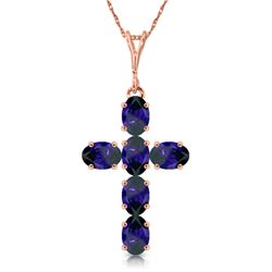 Genuine 1.50 ctw Sapphire Necklace Jewelry 14KT Rose Gold - REF-36T5A