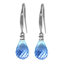 Genuine 4.6 ctw Blue Topaz & Diamond Earrings Jewelry 14KT White Gold - REF-28X8M
