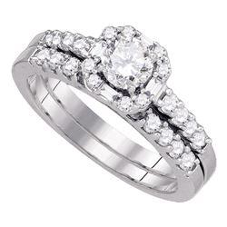 1 CTW Diamond Bridal Wedding Engagement Ring 14KT White Gold - REF-142N4F