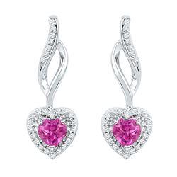 0.76 CTW Created Amethyst Heart Drop Earrings 10KT White Gold - REF-18X2Y