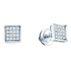 0.10 CTW Diamond Square Cluster Earrings 14KT White Gold - REF-12N2F